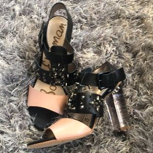 Sam Edelman studded lucite heels